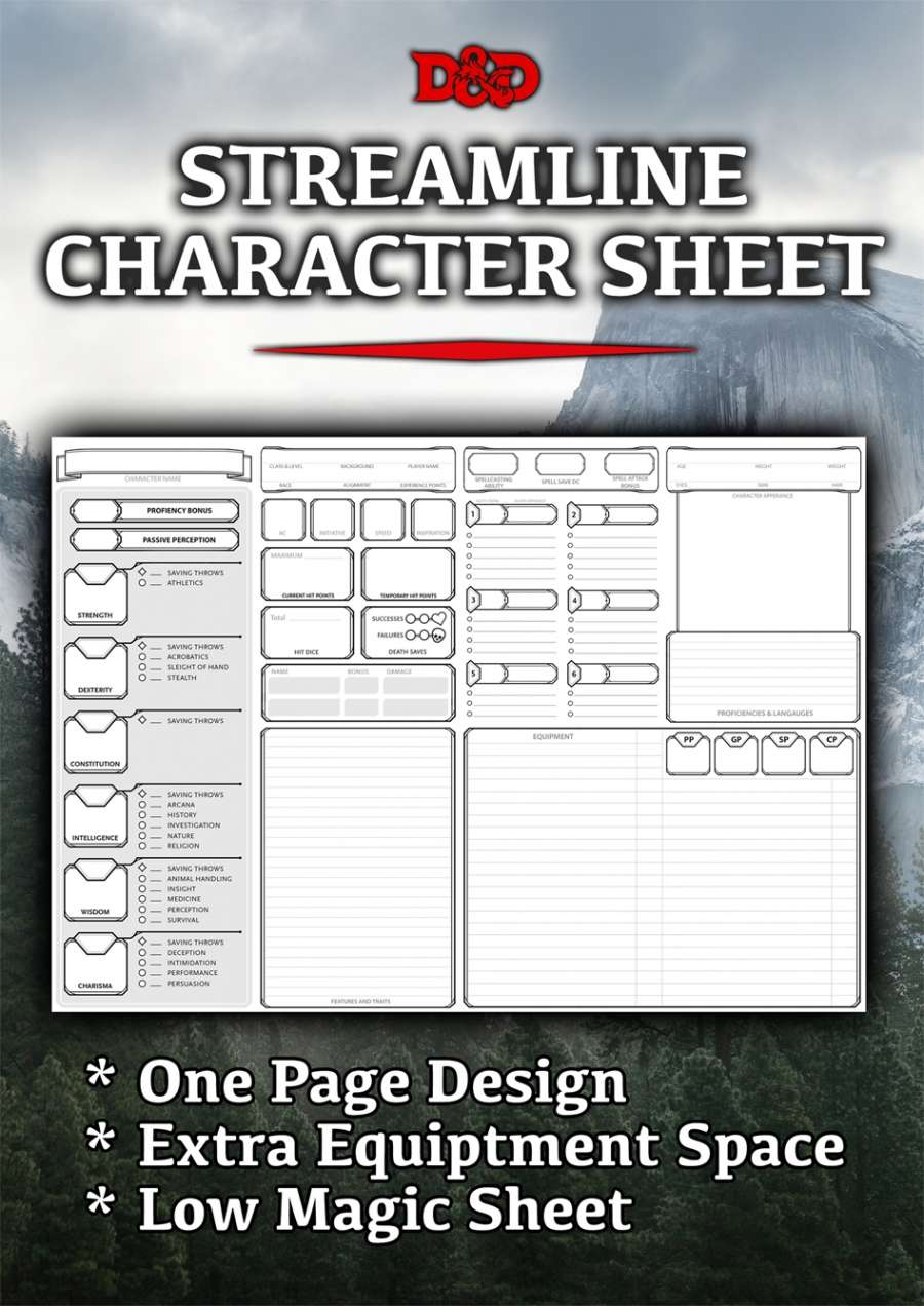 Streamlined Character Sheet (5e) - Dungeon Masters Guild