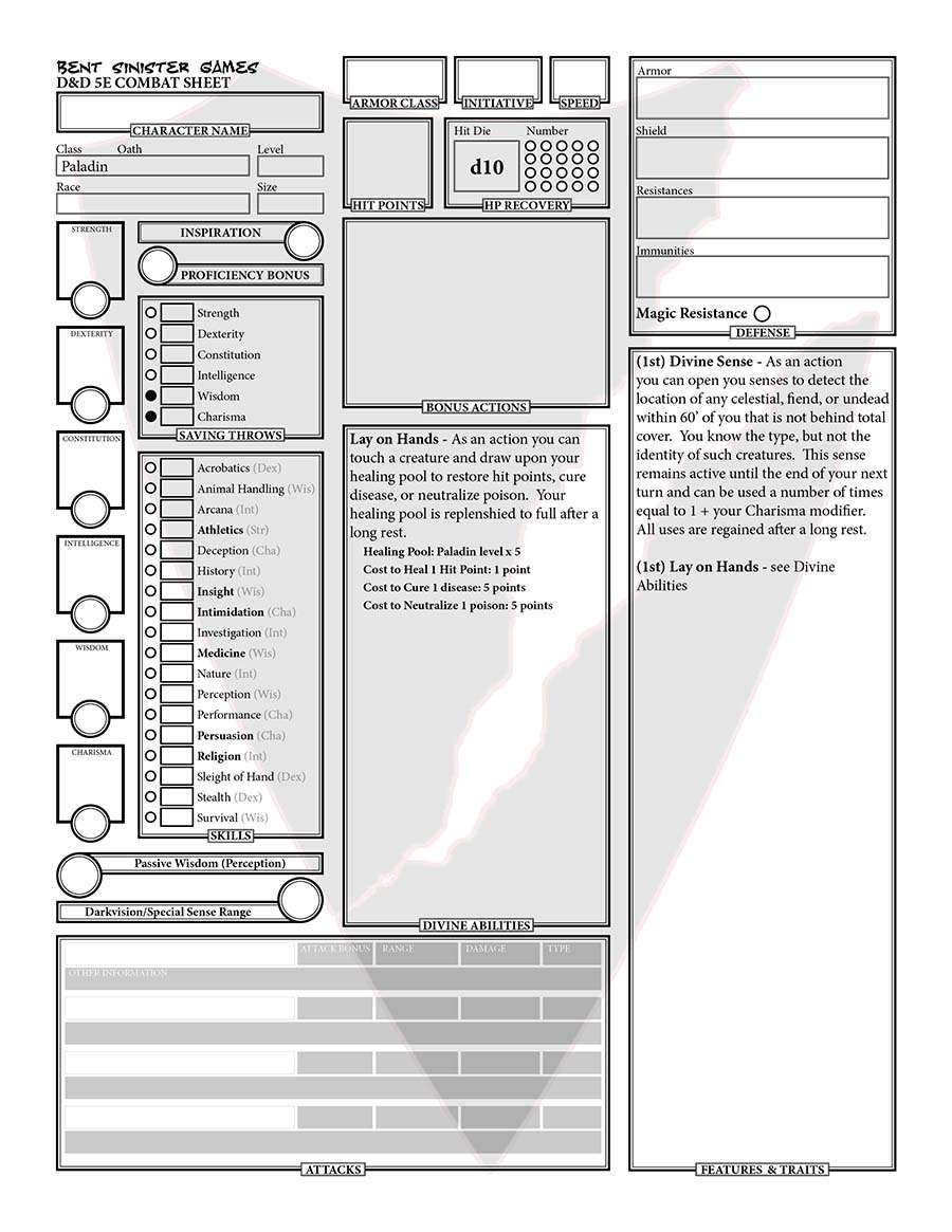 Paladin Character Sheet (Fillable Form) - Dungeon Masters Guild