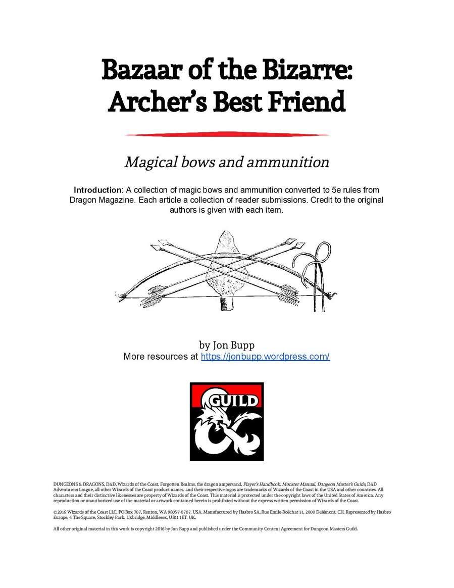 Bazaar of the Bizarre: Archer's Best Friend - Dungeon Masters Guild |  Wargame Vault