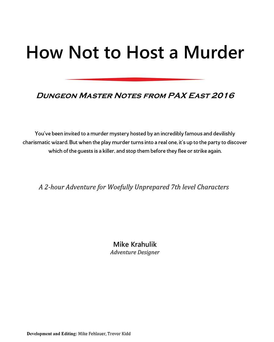 How Not to Host a Murder (5e) - Dungeon Masters Guild | Dungeon