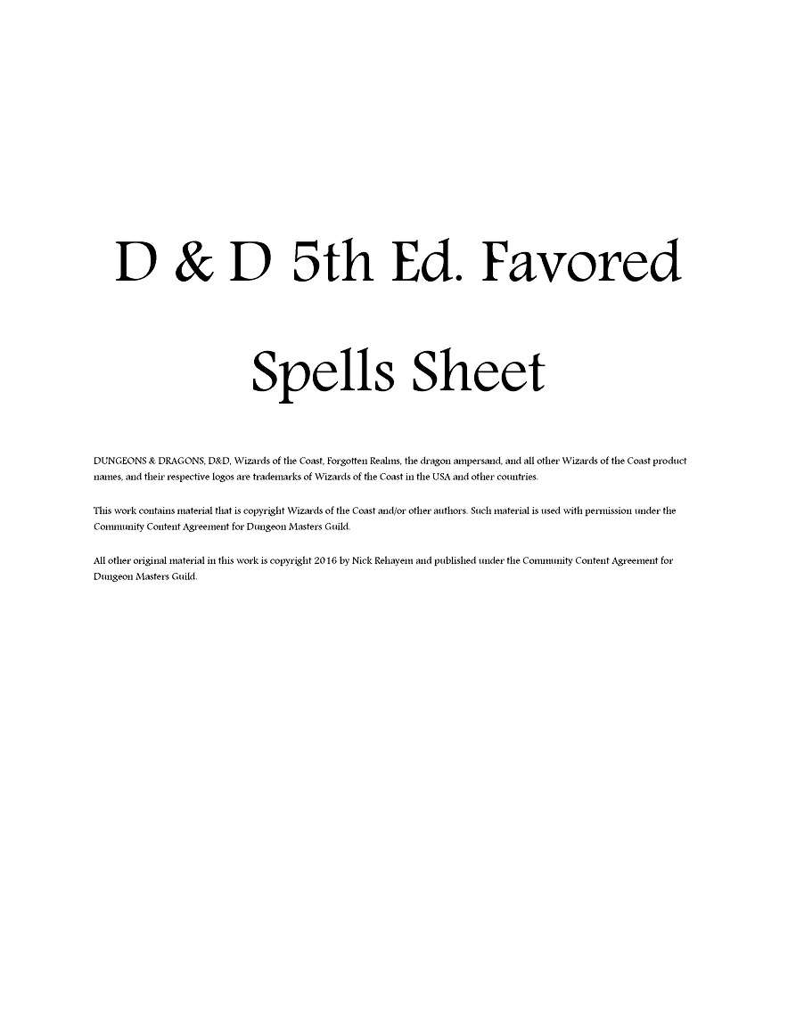 D Amp D 5e Favored Spells Sheet Dungeon Masters Guild