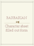 Barbarian Character sheet  filled out form