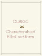 Cleric Character sheet  filled out form