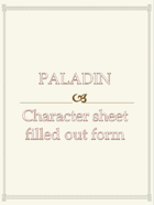 Paladin Character sheet  filled out form