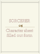 Sorcerer Character sheet  filled out form