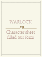 Warlock Character sheet  filled out form