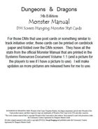5th Edition Monster Manual DM Screen Cards