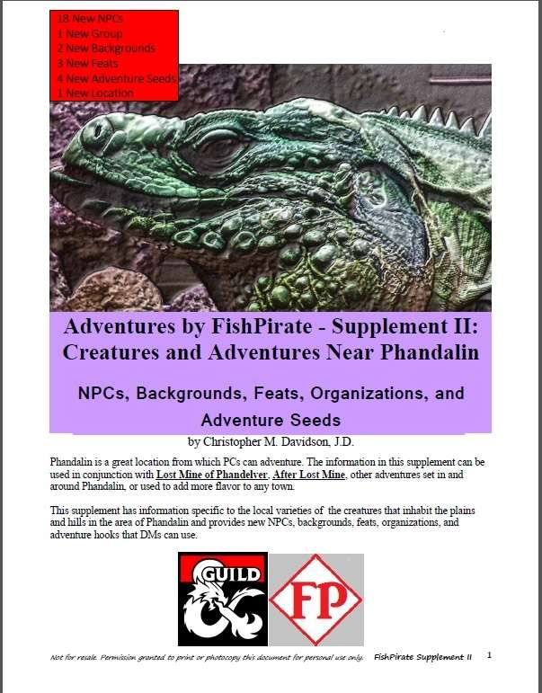 Cover of Adventures by FishPirate - Supplement II: Creatures and Adventures Near Phandalin