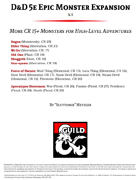 D&D 5e Epic Monster Expansion
