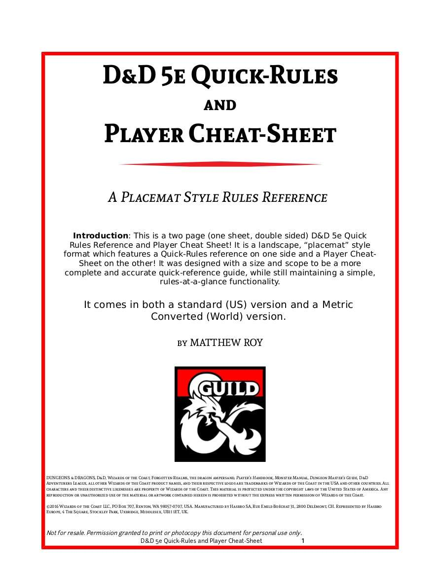 D&D 5e Quick-Rules and Player Cheat-Sheet - Dungeon Masters Guild | Dungeon  Masters Guild