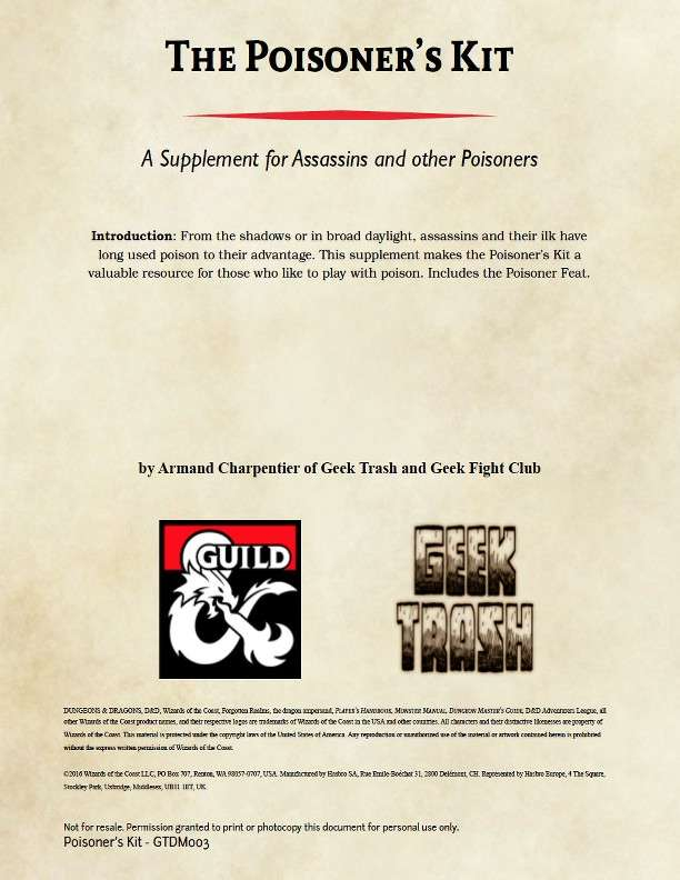 The Poisoner's Kit - Dungeon Masters Guild | Dungeon Masters