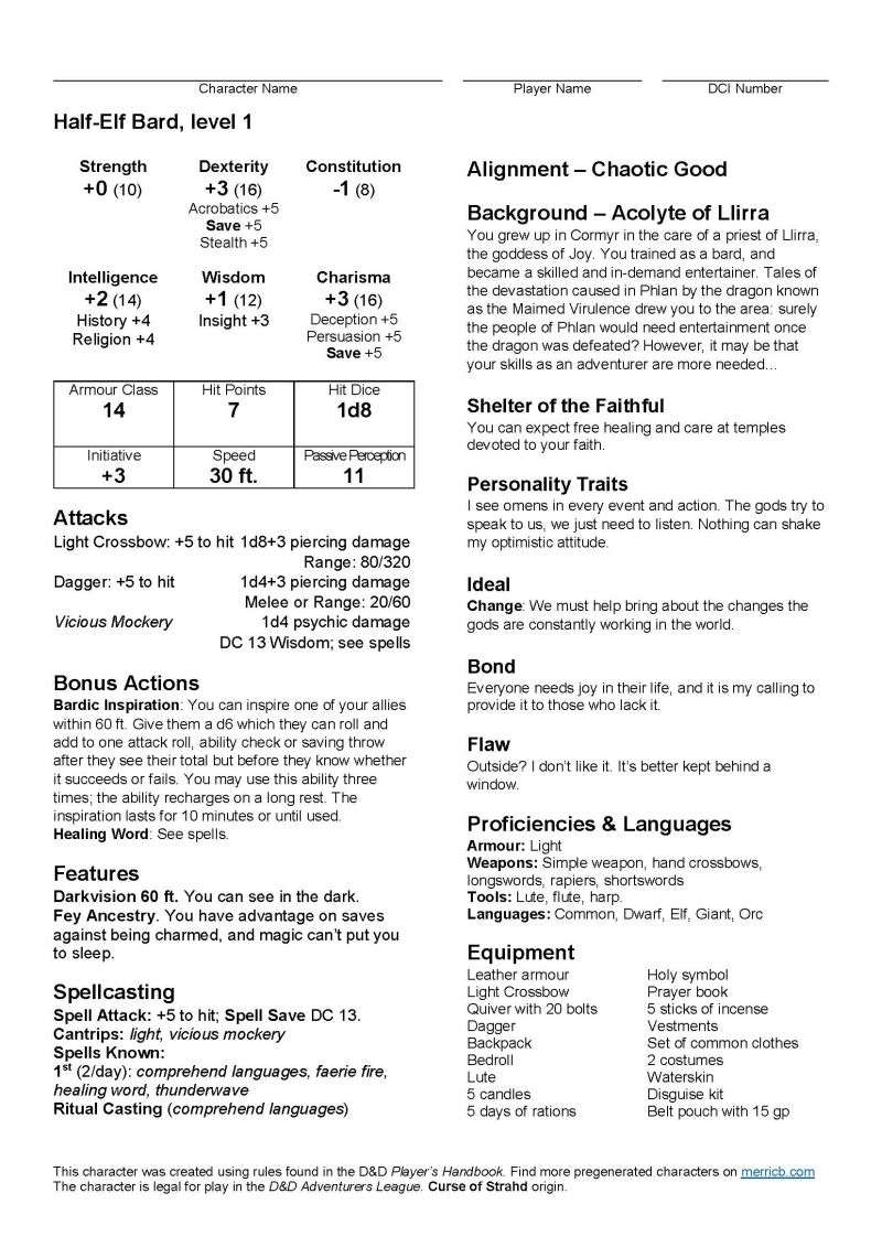 Pregenerated Characters (D&D 5E Season 4) - Dungeon Masters Guild |  DriveThruRPG com