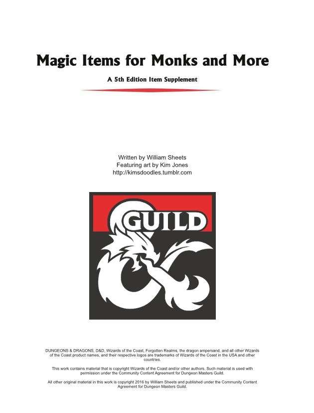 Magic Items for Monks and More