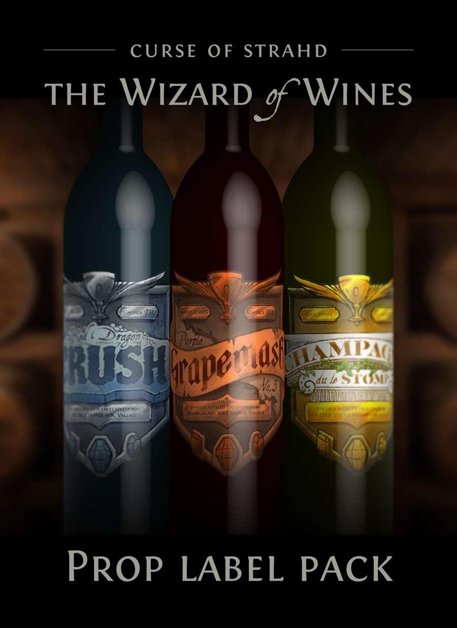 The Wizard of Wines prop label artwork