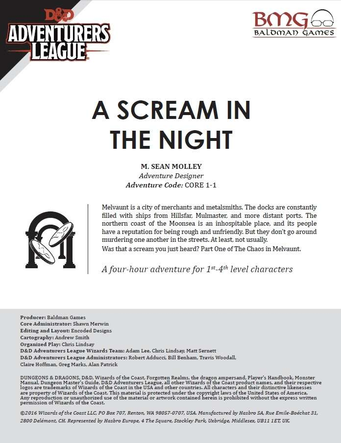 Cover of CCC-BMG-01 CORE 1-1 A Scream in the Night