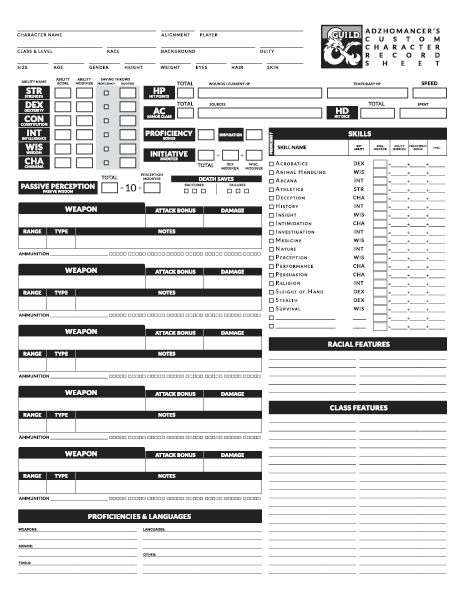 picture regarding 3.5e Character Sheet Printable referred to as Adzhomancers Customized Individuality Sheet - Dungeon Masters Guild