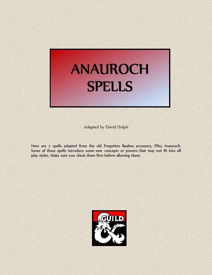 Anauroch Spells Dungeon Masters Guild Dungeon Masters