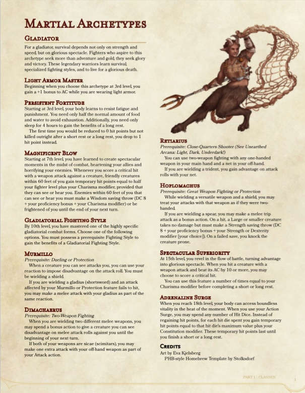 Fighter Archetype: Gladiator (5e) - Dungeon Masters Guild