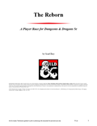 The Reborn A player race for 5e