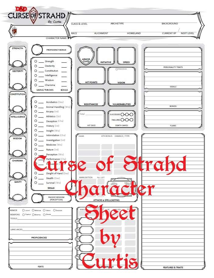 Curse of Strahd Character Sheet - Dungeon Masters Guild