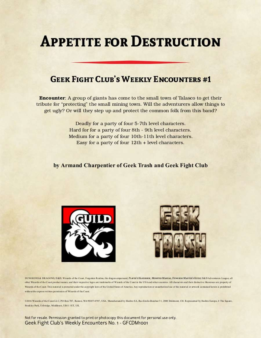 Appetite for Destruction: Geek Fight Club's Weekly