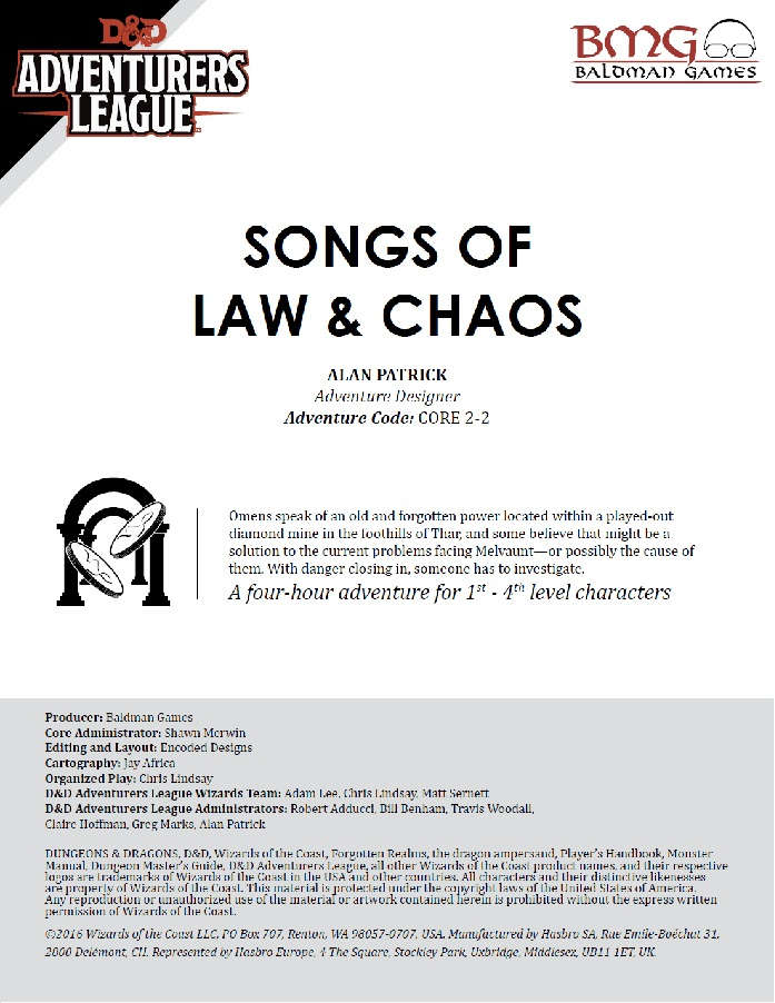 CCC-BMG-05 CORE 2-2 Songs of Law & Chaos - Dungeon Masters Guild