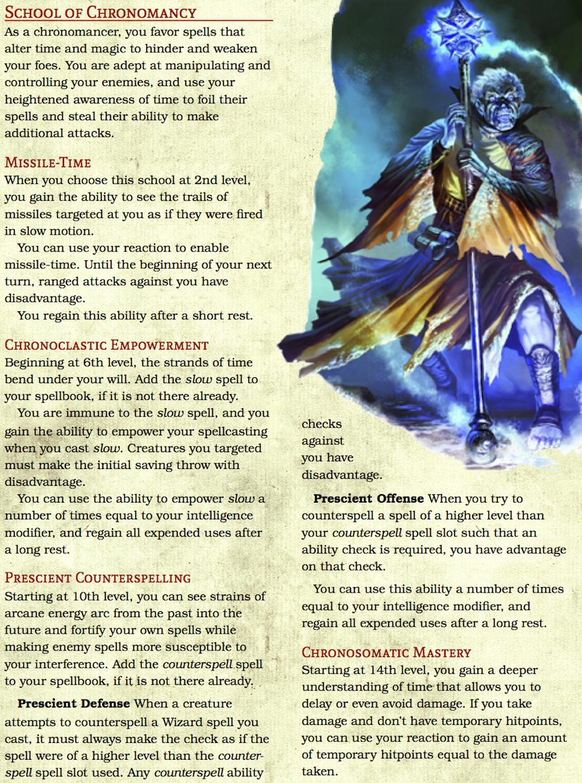 Chronomancer: The School of Chronomancy (5e Wizard Tradition/Archetype) -  Dungeon Masters Guild   DriveThruRPG com