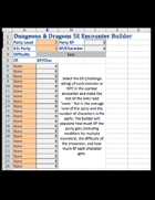 D&D 5E Encounter Builder Spreadsheet