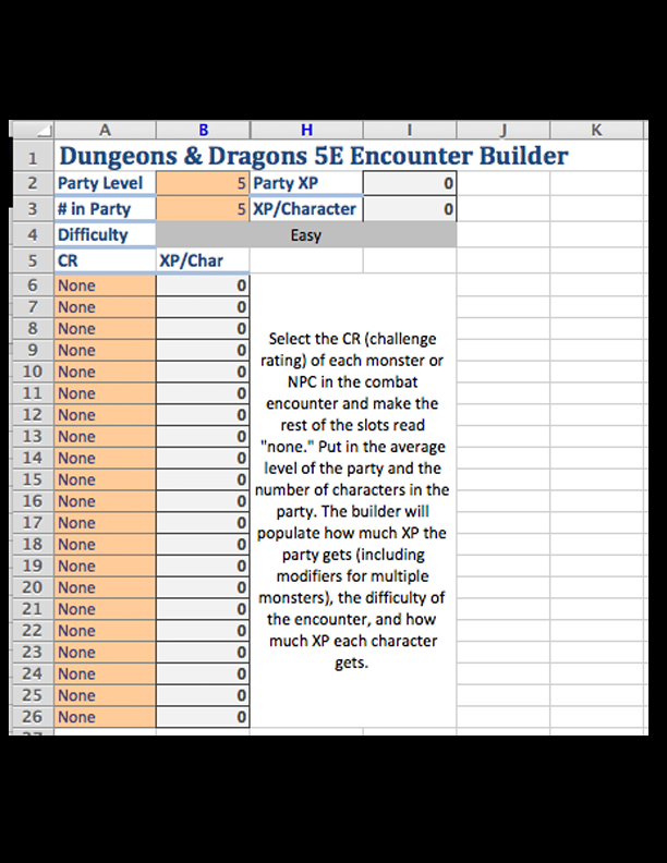 d d 5e encounter builder spreadsheet dungeon masters guild