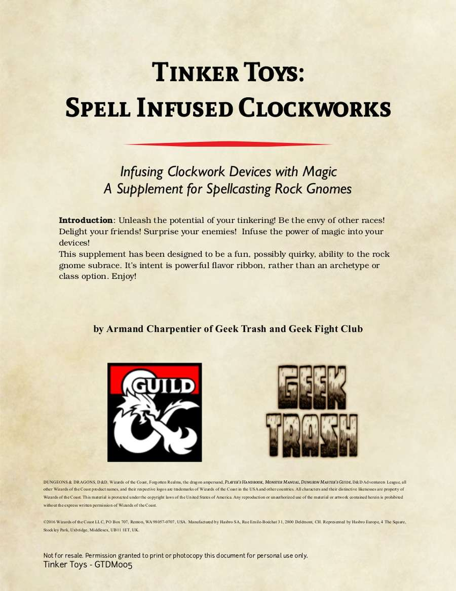 Tinker Toys: Spell Infused Clockworks - Dungeon Masters Guild