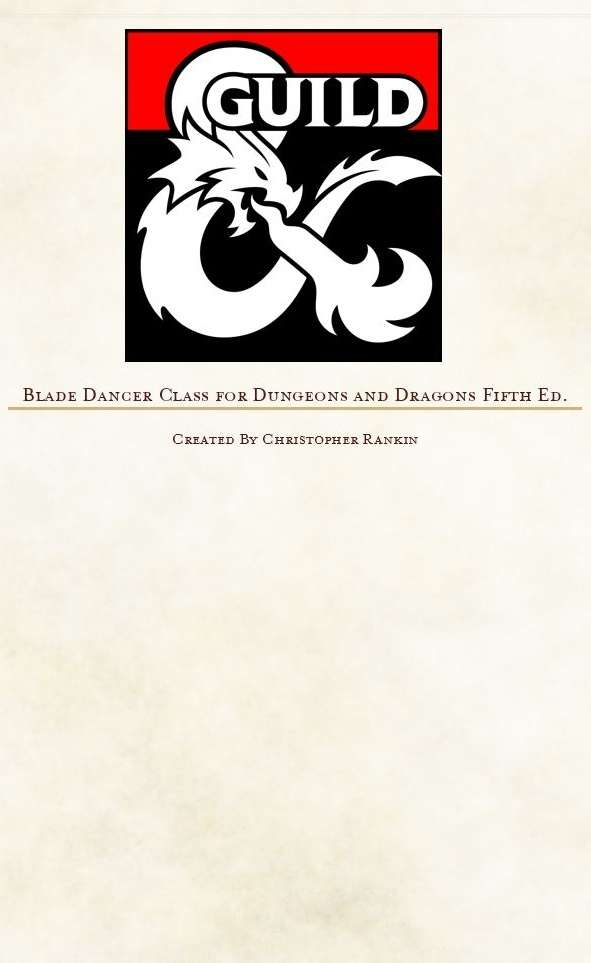 Blade Dancer Class - Dungeon Masters Guild | Dungeon Masters Guild