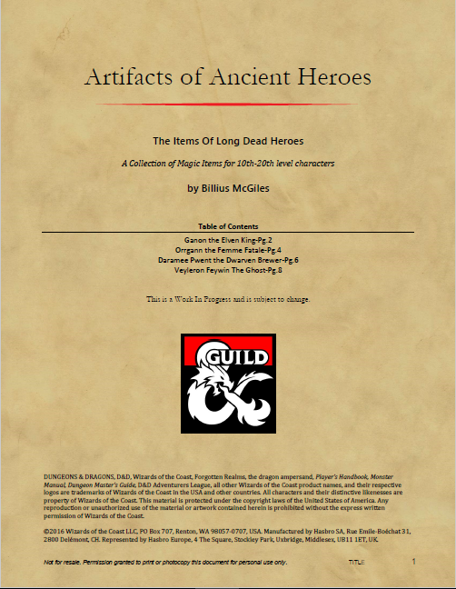 Artifacts Of The Ancients Dungeon Masters Guild