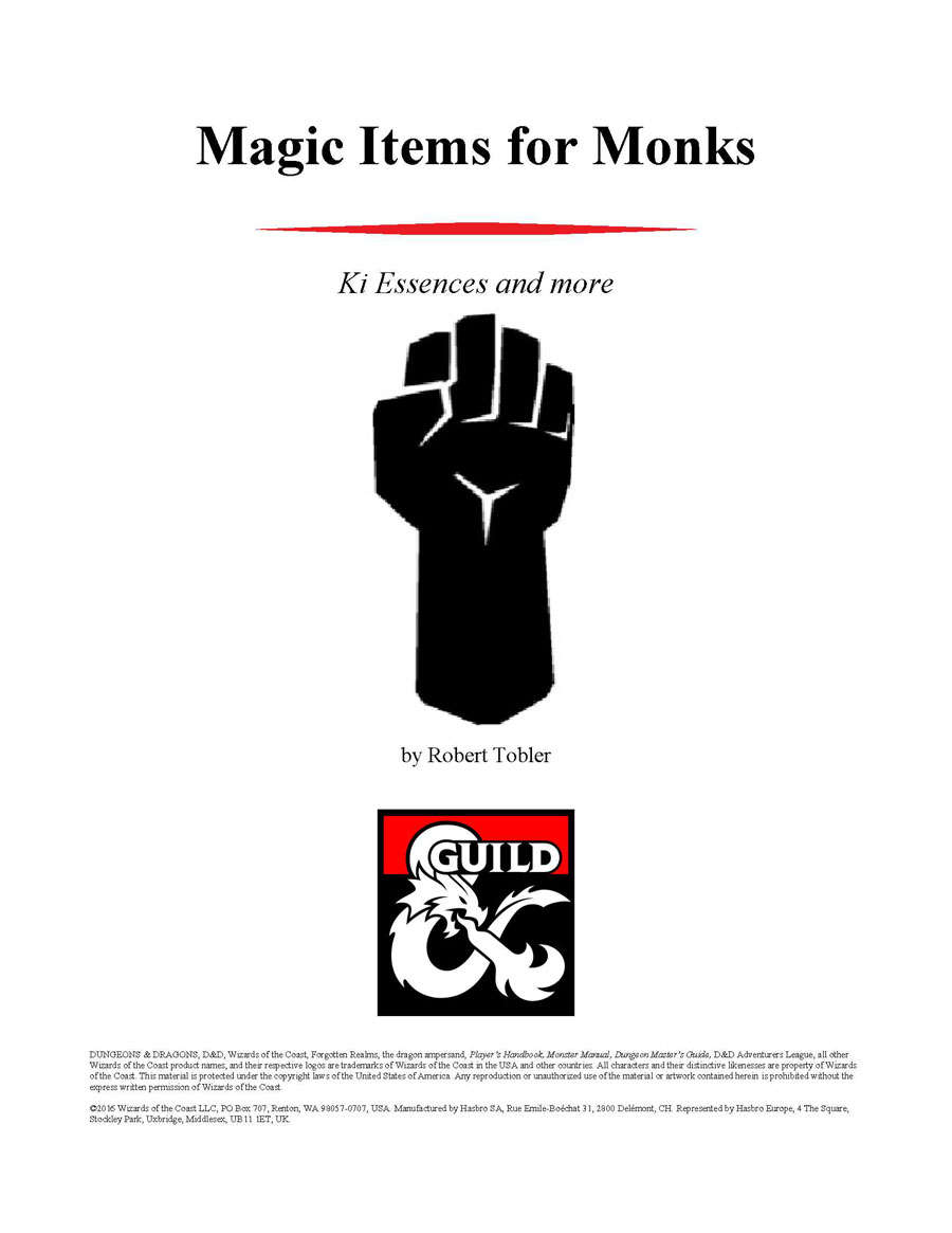 Magic Items for Monks - Dungeon Masters Guild | Dungeon Masters Guild