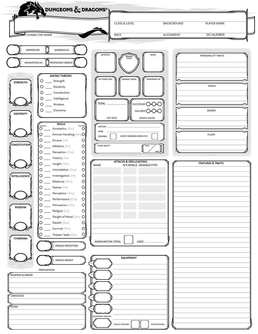 Adventurers League Friendly Character Sheet Dungeon