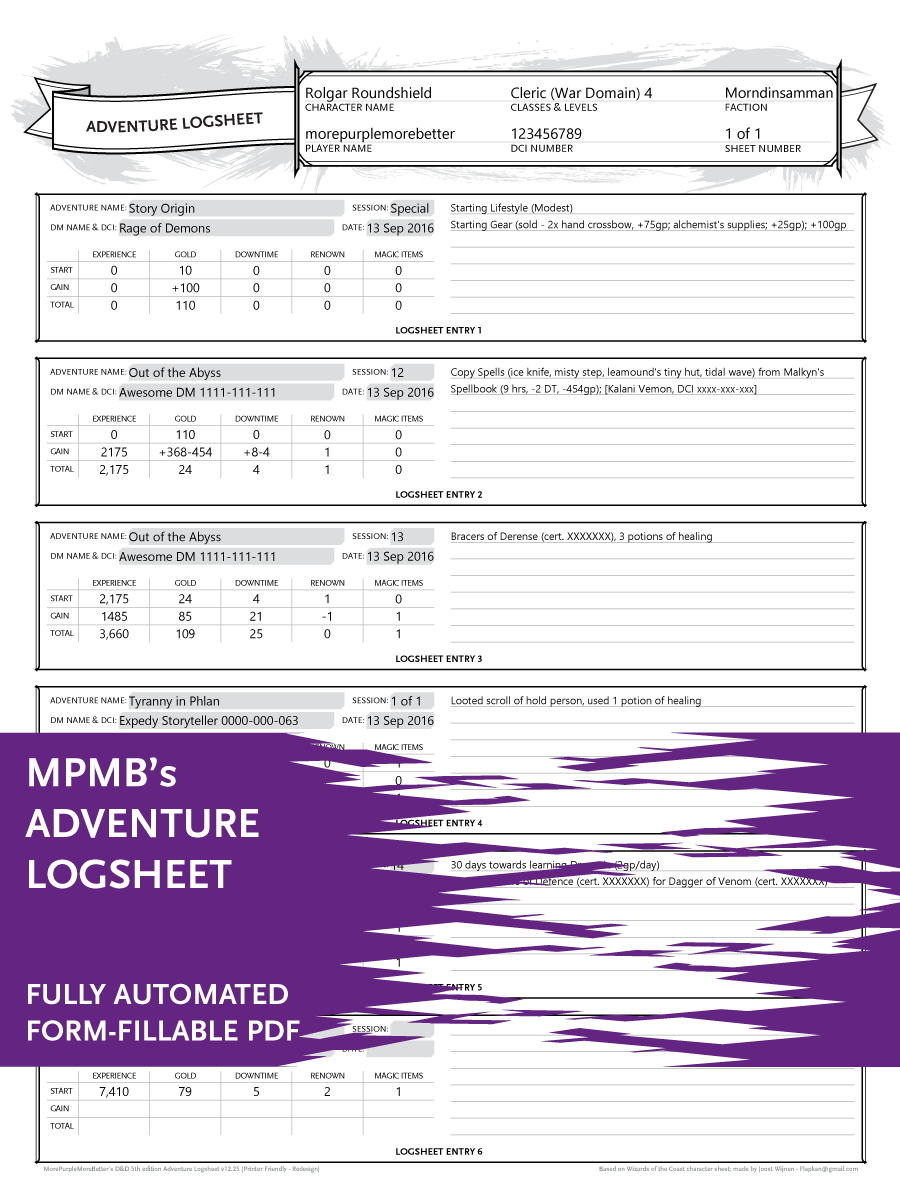 Adventure Logsheet Mpmb S Fully Automated Printer