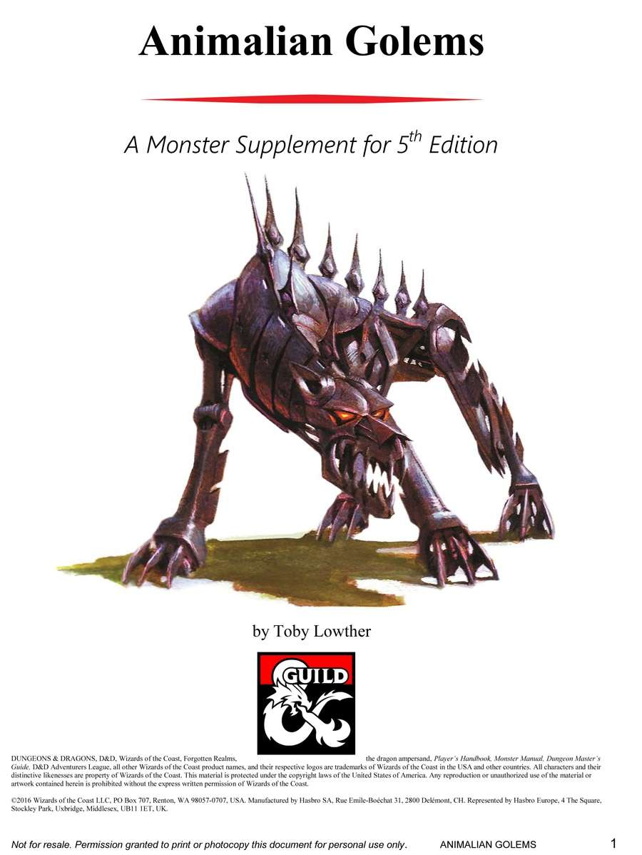 5e] Monster Statblocks: Animalian Golems - Dungeon Masters