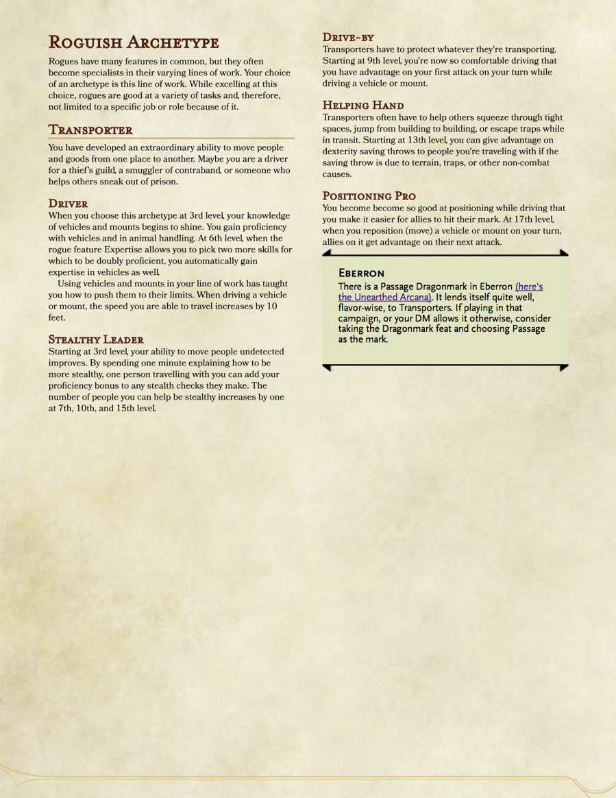 Rogue Archetype: The Transporter - Dungeon Masters Guild | Dungeon Masters  Guild