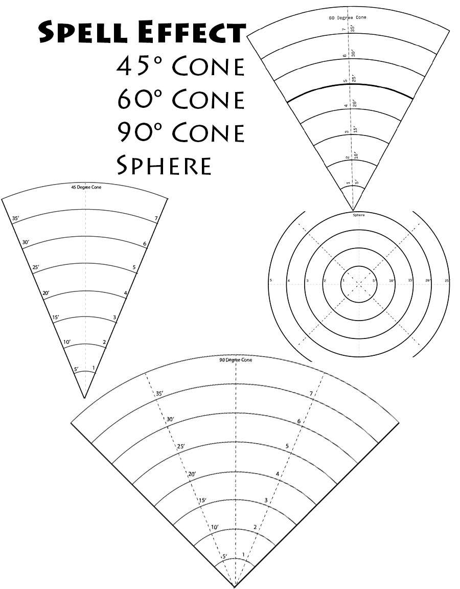 Spell Area of effect cones - Dungeon Masters Guild   Dungeon Masters ...