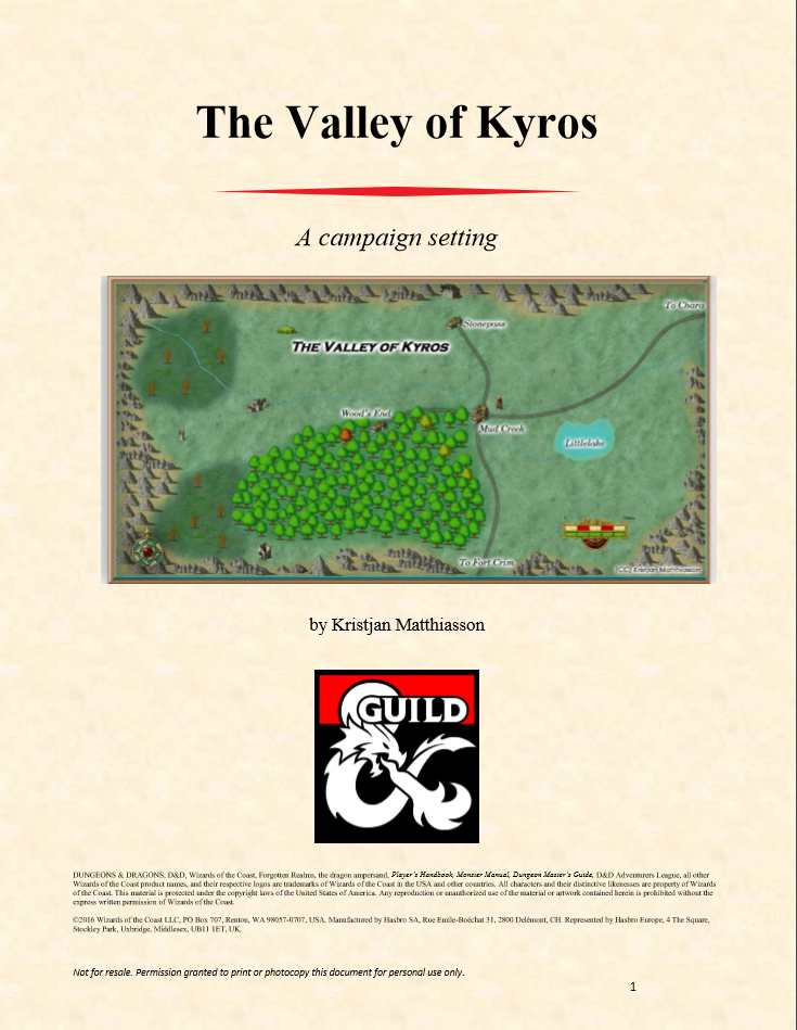 The Valley of Kyros - Campaign Setting - Dungeon Masters