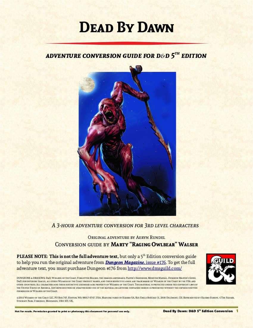 Dead By Dawn Adventure Conversion Guide (5e)
