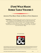 (Fun) Wild Magic Surge Table Vol. 1