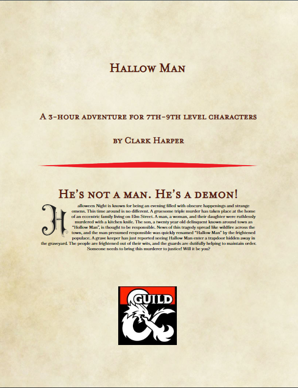 Hallow Man- Halloween Special Edition - Dungeon Masters Guild |  DriveThruRPG com