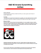 D&D 5E Arcane Gunsmithing Artifact