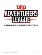 D&D Adventurers League FAQ