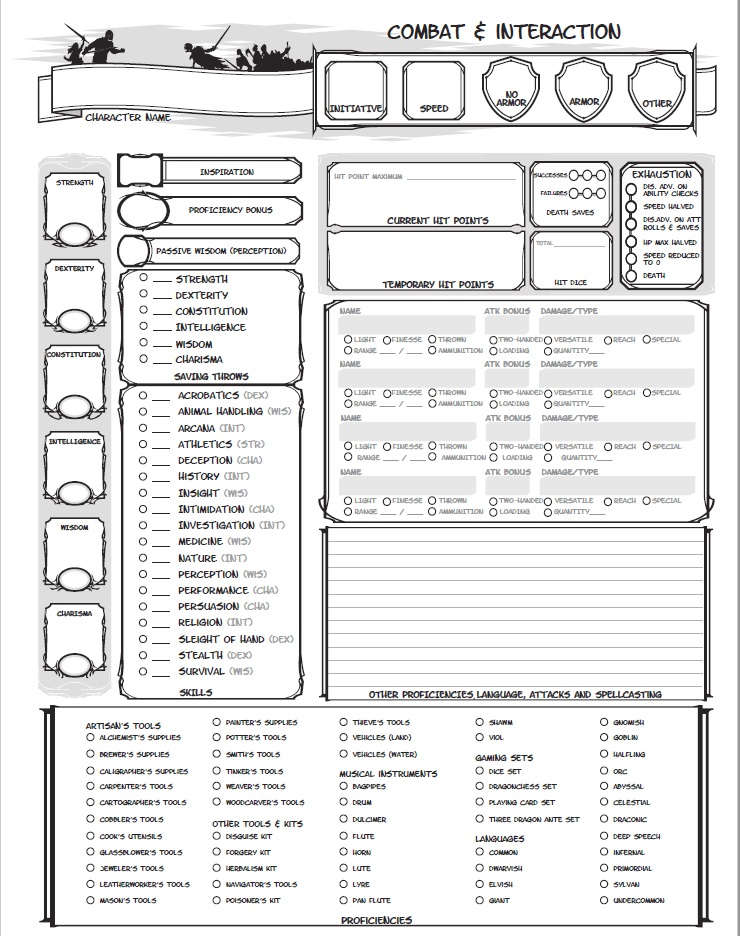 Alternate 3 Page Character Sheet Dungeon Masters Guild