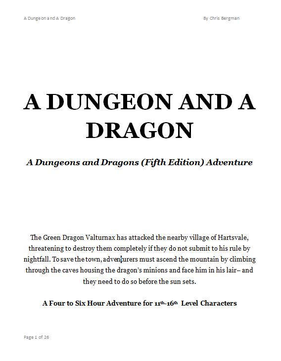 A Dungeon And A Dragon A 5e Adventure For 11 16th Level Characters