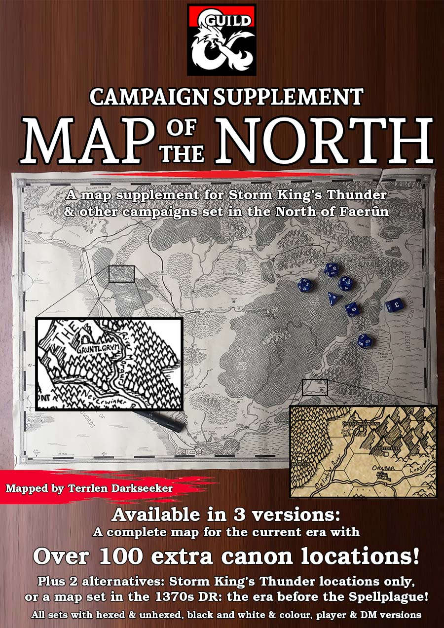 photograph relating to Storm King's Thunder Printable Maps identify The North Marketing campaign Map - Dungeon Masters Guild Dungeon