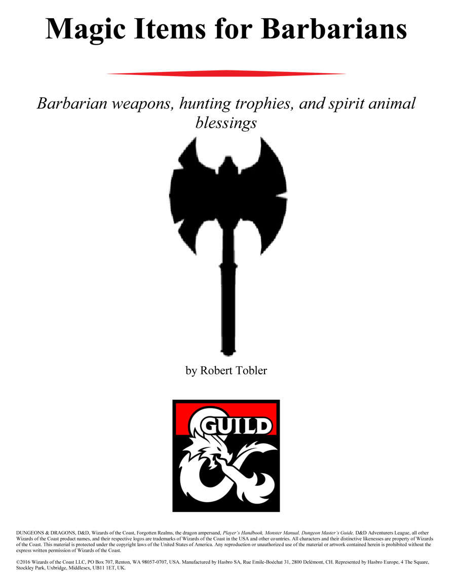 Magic Items for Barbarians - Dungeon Masters Guild | DriveThruRPG com