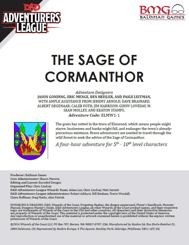 Cover of CCC-BMG-16 ELM 1-1 The Sage of Cormanthor