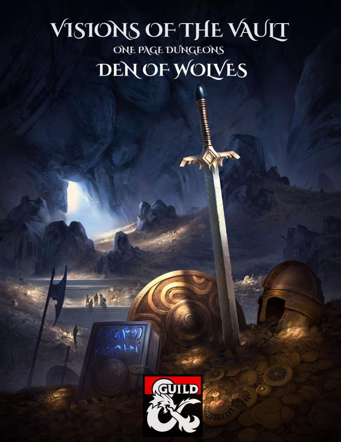 Cover of Visions of the Vault: One Page Dungeons: Den of Wolves